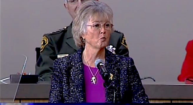 San Diego County Superannuated Supervisor Dianne Jacob stresses the need for senior services at this year's State of the County address.
