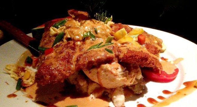 Hammered pork schnitzel benedict