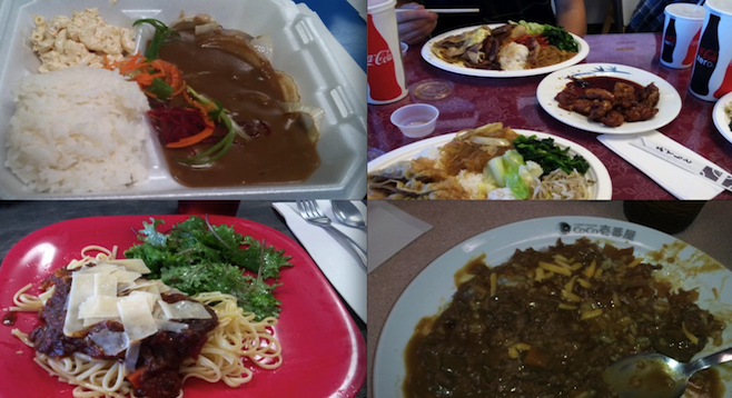 Clockwise from top left: hamburger steak plate at Dean's Drive Inn, meat jun at Gina's Korean BBQ, shabu shabu spicy curry with cheese at Coco Ichiban-ya Curry House, and short rib pasta at the Food Company Market and Cafe.