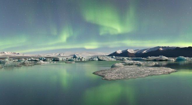 Aurora borealis over an iceberg lagoon