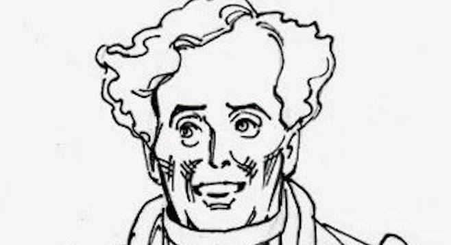 Caricature of Kevin Burnette as Dulcamara by Joseph Sanabria.