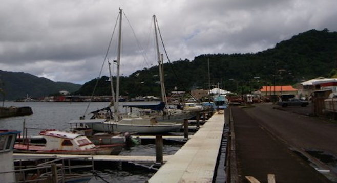 Rainy day at Pago Pago Harbor – appropriate, considering Maugham's work here.