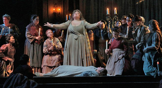 Mezzo-soprano Stephanie Blythe (Madame Arvidson) in San Diego Opera's A Masked Ball. March, 2014.