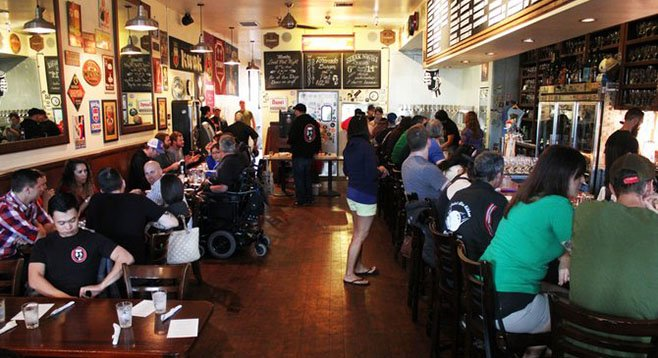 Toronado San Diego, seen here during an orderly, attendance-capped beer brunch, is often quite crowded