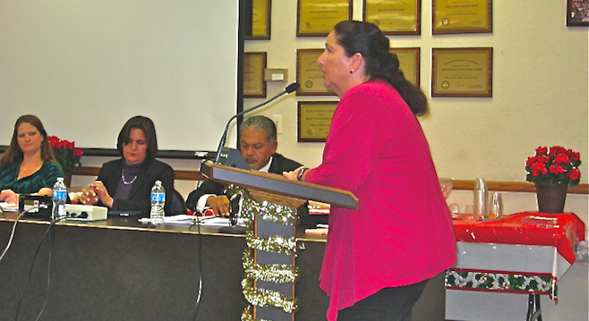 Sweetwater Education Association Vice-President Colleen Cooke Salas addresses trustees