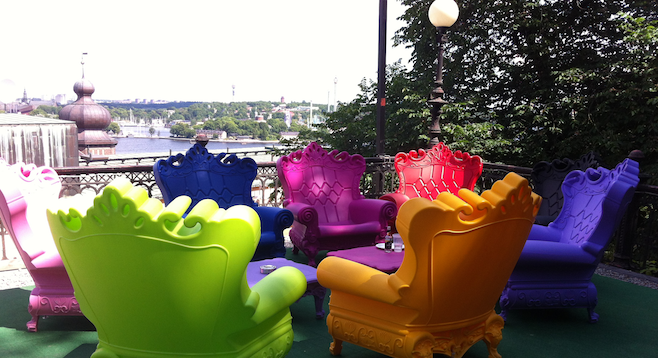 View of Stockholm from a hillside cafe. The city's full of colorful design.