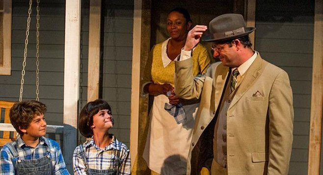 Dylan Nalbandian as Jem, Katelyn Katz as Scout, Yolanda Franklin as Calpurnia, and Manny Fernandes as Atticus in To Kill a Mockingbird at New Village Arts.