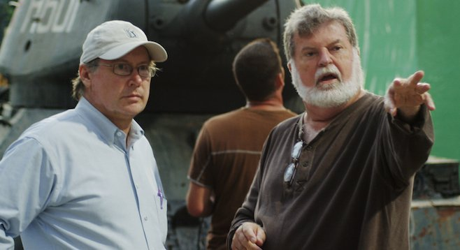 Director Mark Schmidt (l) and Dean Cundey on the set of Walking with the Enemy