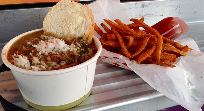 My gumbo and sweet potato fries from New Orleans Food Truck.