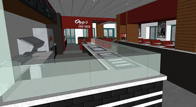 The interior of Oggi's Pizza Express, opening in May 2014 at SDSU's Conrad Prebys Aztec Student Union.