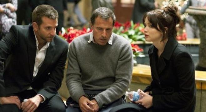 Bradley Cooper, David O. Russell, and Jennifer Lawrence on the set of Silver Linings Playbook