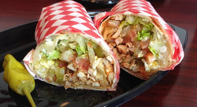 Beck will never sing a line about this chicken. Chicken shawerma sandwich. Tigris Mediterranean Grille.