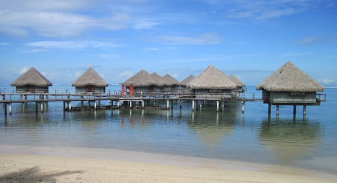 Ready to splurge on accommodation? Overwater bungalows are a common sight at Tahiti resorts.