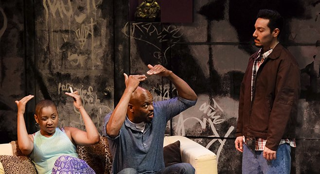 Whitney Brianna Thomas, Laurence Brown, Steven Lone in The Motherf**ker With the Hat at Cygnet Theatre