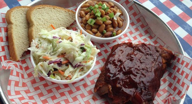 Baby back ribs, beans, and cole slaw at Lil' Piggy's Bar-B-Q in Coronado