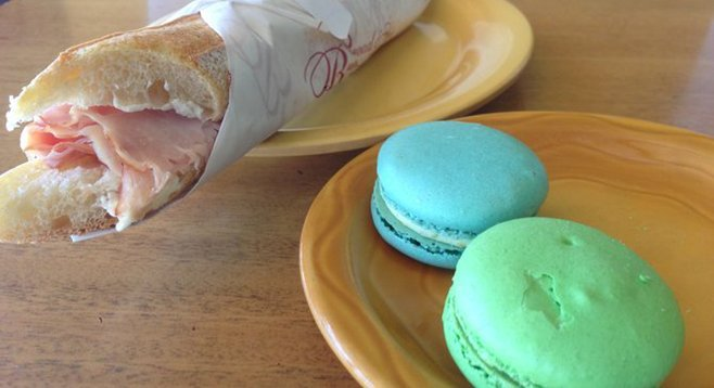 Even with the sandwich right in front of you, can't take your eyes off those macarons. Jambón-beurre. Bread and Cie.