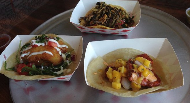 Looking back, I coulda handled four. Clockwise from the top: Borrego, Mahi al Adobo and Chile Relleno tacos. City Taco.