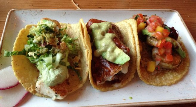 From left: Mahi Mahi Taco, Filet Mignon Taco, Grilled Shrimp Taco (at Puesto La Jolla)