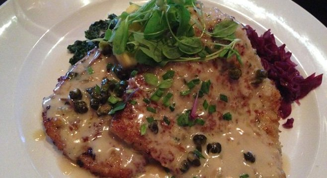 Pork schnitzel in lemon-caper brown butter sauce at the Red Door restaurant
