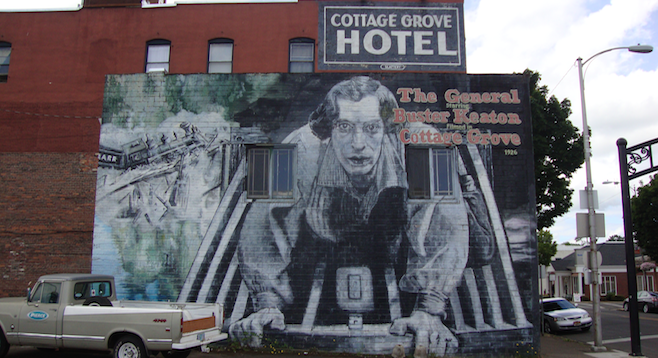 A Buster of a mural commemorating The General adorns the wall of the Cottage Grove Hotel.