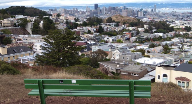 Tank Hill, Cole Valley. Bring a friend and get high on the scenery.