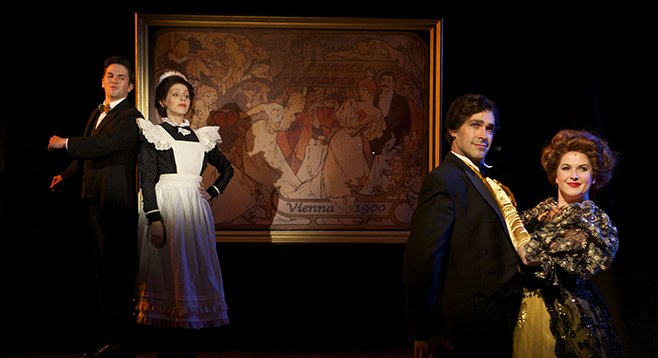 Jeffrey Scott Parsons, Jill Townsend, Lance Authur Smith, and Melissa Wolfklain in Romance/Romance at North Coast Rep.