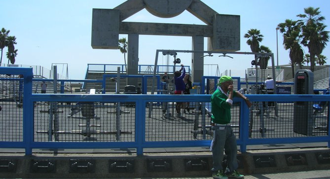 Chilling at Venice's famed Muscle Beach.