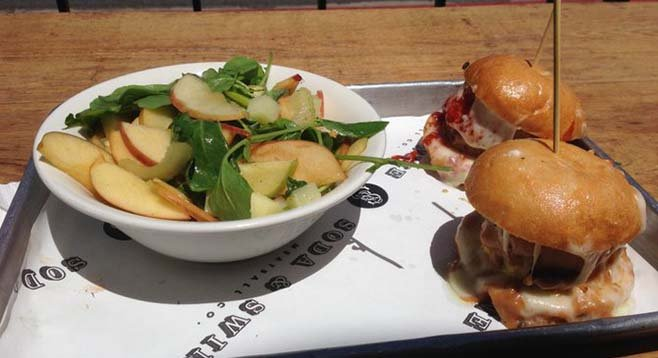 Apple salad and some always-good meatball sliders. Soda and Swine.
