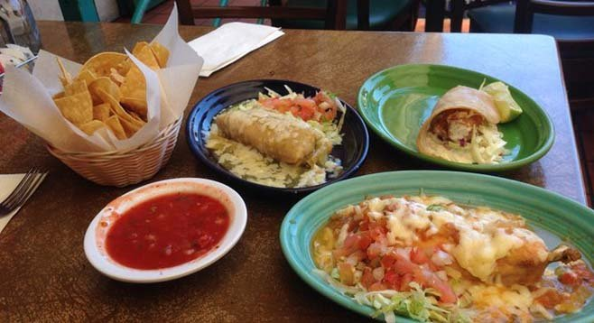 A sampling of a la carte items, $5-$6 apiece. Chile relleno, pork tamales, fish taco.