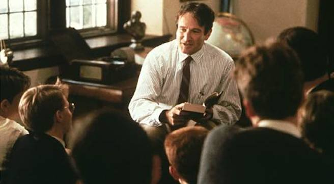 Robin Wiliams as English teacher John Keating in Dead Poets Society