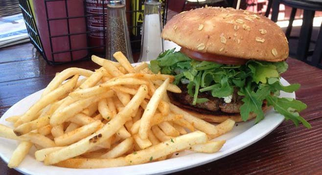Lamb burger and fries. The Public House.