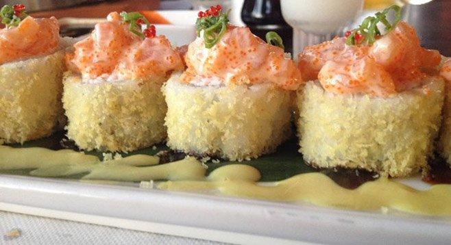 Alaska roll with marinated salmon.