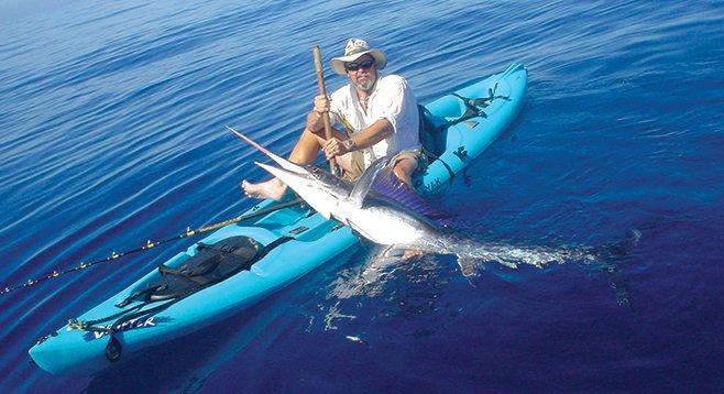 Jim Sammons with striped marlin, May 2004, Punta Colorada