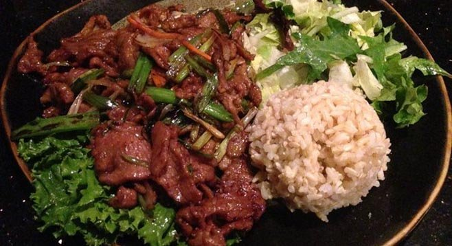 Mongolian – lamb instead of beef. Khan's Cave.