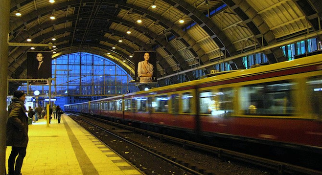 Waiting at a Berlin subway station.
