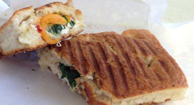 Grilled Mary's Chicken panini. $9. Bottega Americano.
