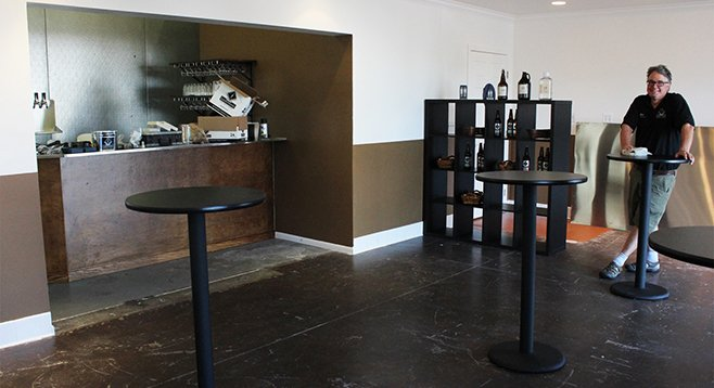 Owner Jim Crute at home in his new tasting room digs at Lightning Brewery in Poway