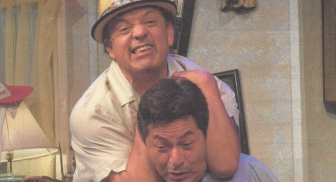 Paul Rodriguez and Mike Gomez in Teatro Mascara Magica's The Odd Couple.