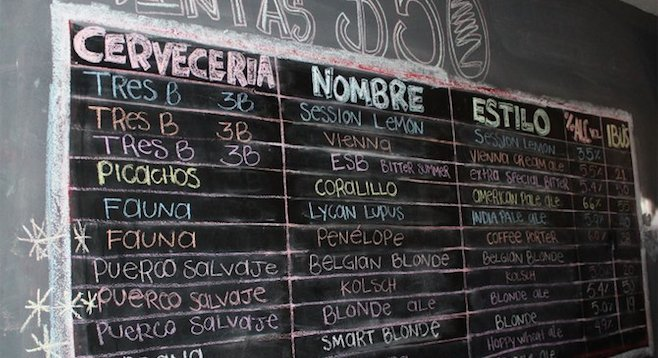 The beer board at Mexicali craft beer bar The Show