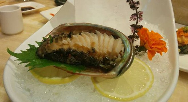 Crunchy abalone was alive two minutes before this photo was taken