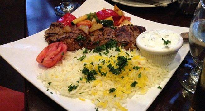 Hard to hate this plate. Lamb tenderloin kabob. Mezé.