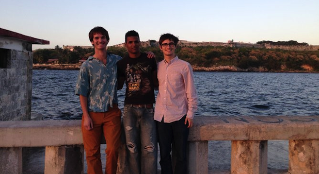 The author with León and Ben on Havana's El Malecón.