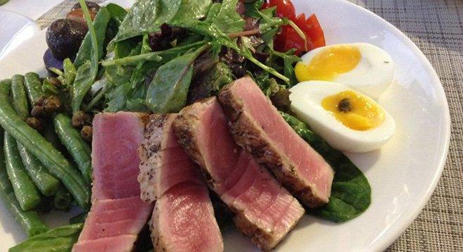 Nicoise salad with seared tuna.