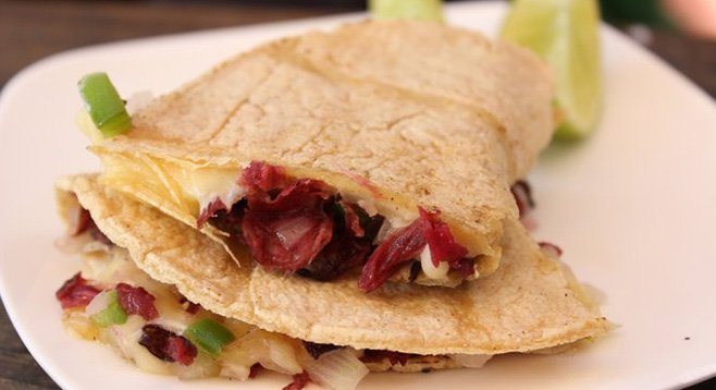 The tart quesadilla de la flor de jamaica, made with Oaxacan cheese and hibiscus flowers.