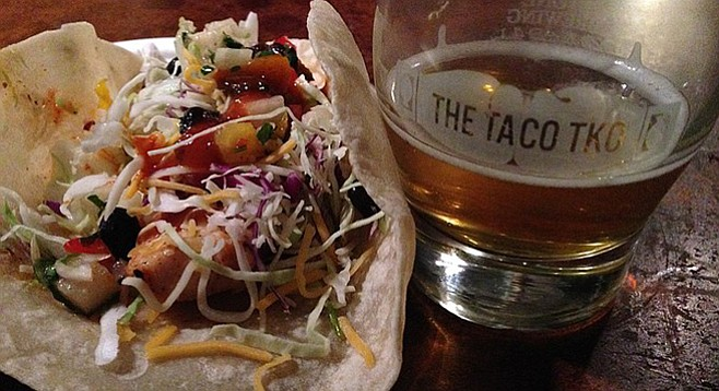Taco TKO fish taco and craft beer. Taco offered by 2011 winner PB Fish House.