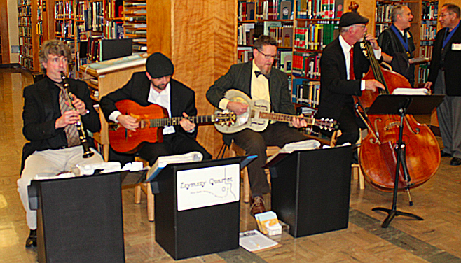 Zzymzzy Quartet played at the library's Local Authors Exhibit