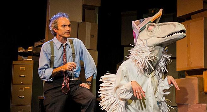 Eddie Yaroch in Enron at Moxie Theatre.