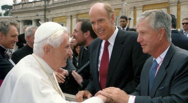 Doug Manchester (far right) with Pope Benedict XVI