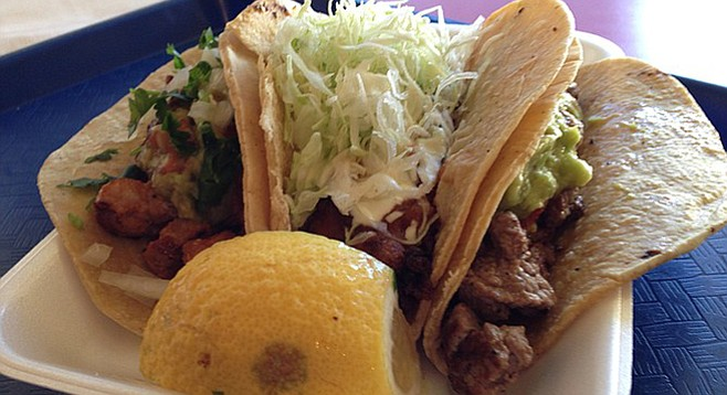 Adobado taco, fried fish taco, carne asada taco. Taco Surf Taco Shop.