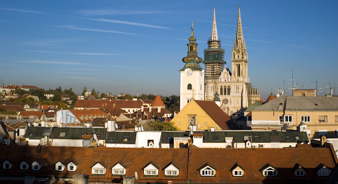 Cityscape of Zagreb with Zagreb Cathedral.